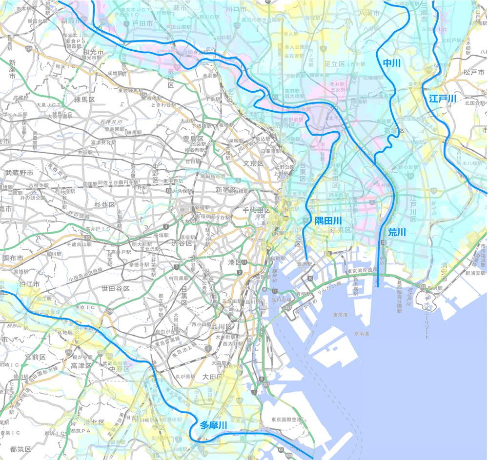 東京23区-洪水浸水マップ